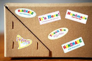 Handmade Stickers Crafter Craft Happy Colourful Vinyl Business/Personal Stickers